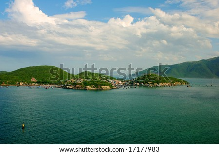 Islands in Nha Trang Bay, Vietnam - stock photo