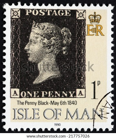 ISLE OF MAN - CIRCA 1990: a stamp printed by GREAT BRITAIN shows world's first prepaid stamp, the Penny Black issued at May 6th 1840, circa 1990. - stock photo