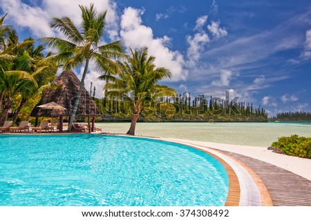 ISLE OF PINES, NEW CALEDONIA - DECEMBER 25: The swimming pool of the Meridien hotel, the most luxurious resort of the island, on December 25, 2010 in the Isle of Pines, New Caledonia