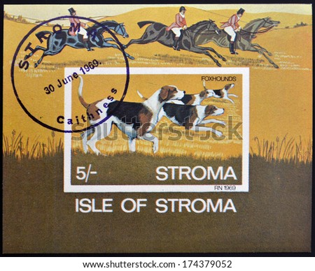 ISLE OF STROMA - CIRCA 1969: A stamp printed in Stroma shows Foxhounds, circa 1969