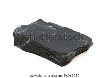 Isloated sample of a black slate rock - stock photo