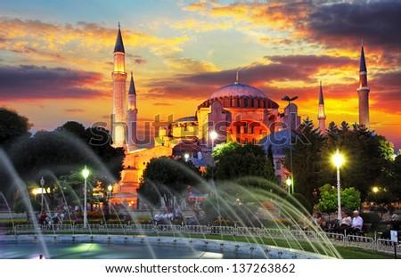 Isntanbul - Aya Sofia at dramatic sunset - stock photo