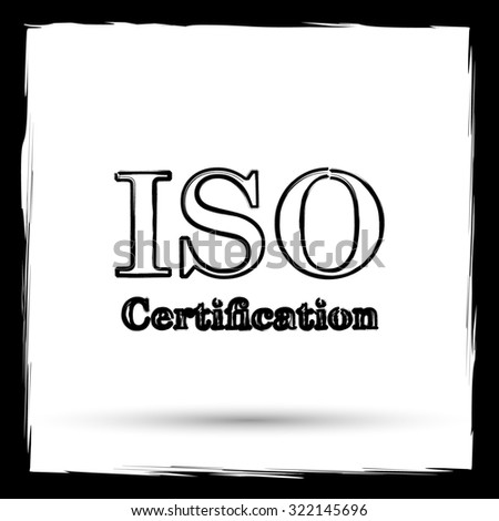 ISO certification icon. Internet button on white background. Outline design imitating paintbrush.