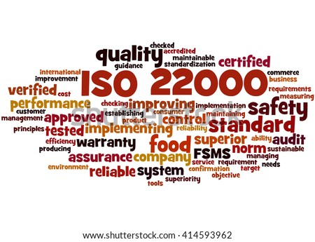 ISO 22000 - food safety management, word cloud concept on white background.