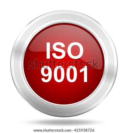 iso 9001 icon, red round metallic glossy button, web and mobile app design illustration - stock photo