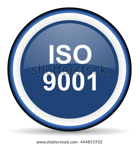 iso 9001 round glossy icon, modern design web element - stock photo