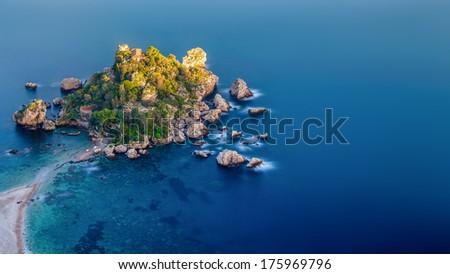 Isola Bella from Taormina - stock photo