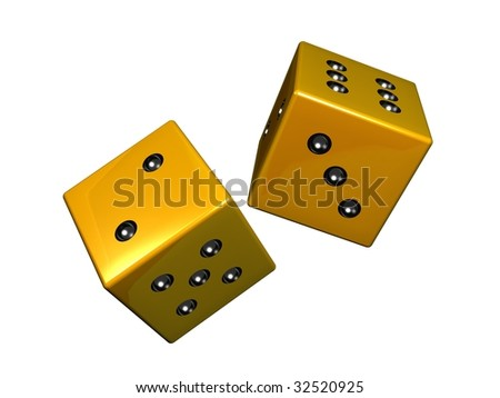 isolared golden dice on white background