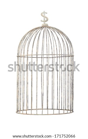 isolate bird cage vintage style with money sign on top - stock photo