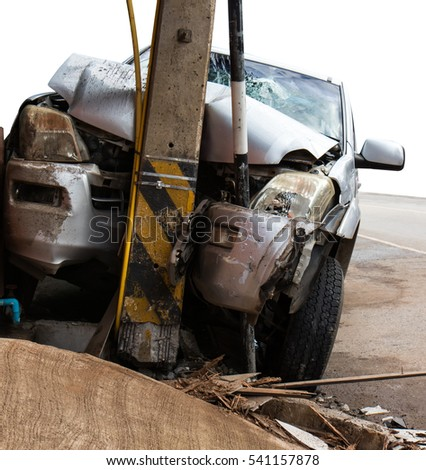 Isolate Close Front Car Crashed Into Stock Photo Royalty Free