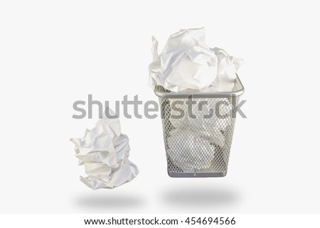 Isolate crumpled paper full in garbage can.