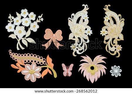 Isolate Flower Neckline embroidery fashion - stock photo