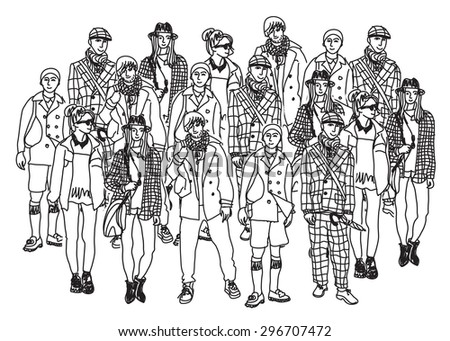Isolate group young fashion people monochrome. Big group of happy people isolated. Black and white vector illustration. - stock photo
