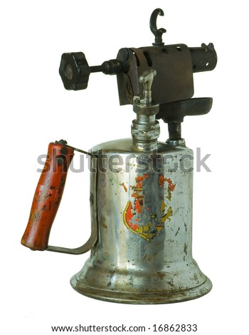 Isolate image of an antique blow torch.