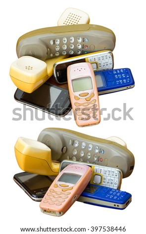 Isolate mobile phones longtime different deprecated stack together to destroy and dispose. - stock photo