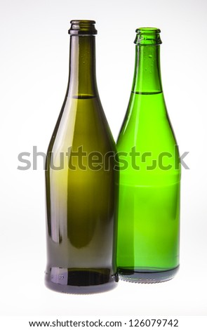 Isolate of the pair of wine bottles against on white background