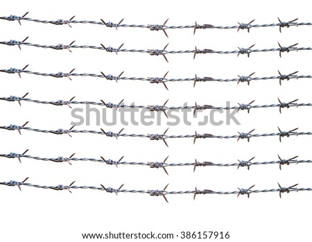 isolate old barbed wire use as raw material for retouch - stock photo