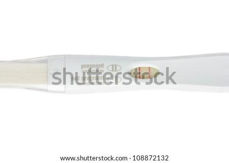Isolate positive pregnancy test on white background. Bilingual english & spanish - stock photo