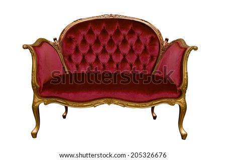 isolate red sofa on white background - stock photo