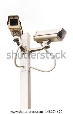 isolate Security Camera ,CCTV on the pole. - stock photo