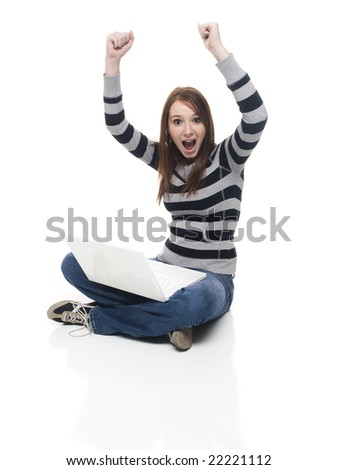 Isolate studio shot of a casually dressed young adult woman - stock photo