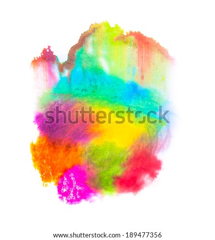 Isolated abstract water colored blobs in multiple colors on white background
