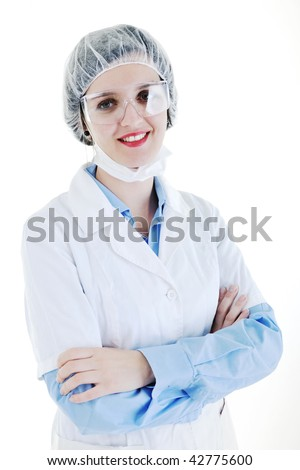 isolated adult woman nurse portrait with stethoscope