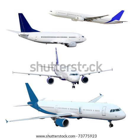 isolated aircraft - stock photo