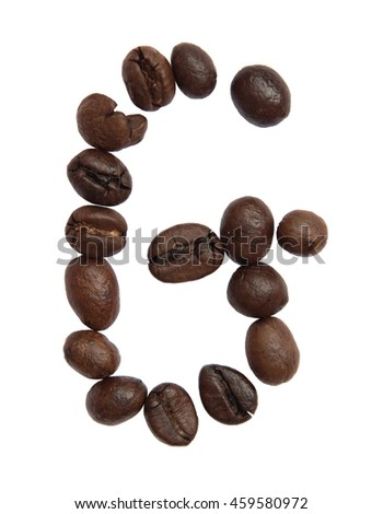 Isolated Alphabet; G make from coffee bean on white background