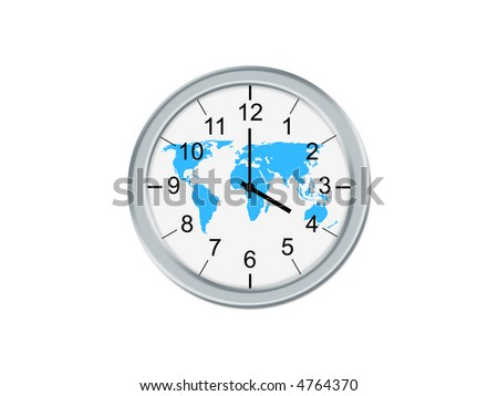 Isolated analog clock whit world map, on a white background
