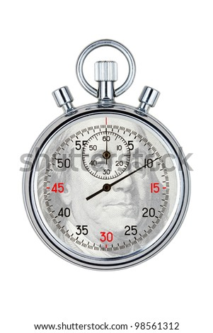 isolated analog stopwatch on white background - stock photo