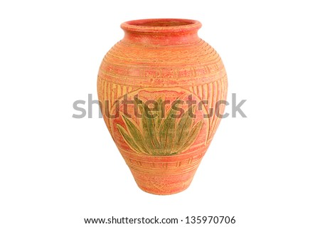 Isolated Ancient Pot on White background - stock photo
