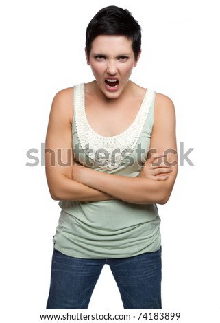 Isolated angry yelling young woman - stock photo