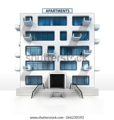 isolated apartment building project development illustration - stock photo