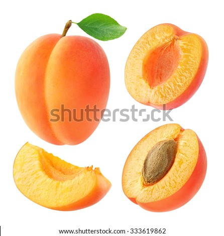 Isolated apricots. Collection of whole and cut apricot fruits isolated on white background with clipping path - stock photo