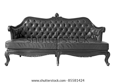 isolated Armchair black genuine leather classical style sofa with clipping path - stock photo