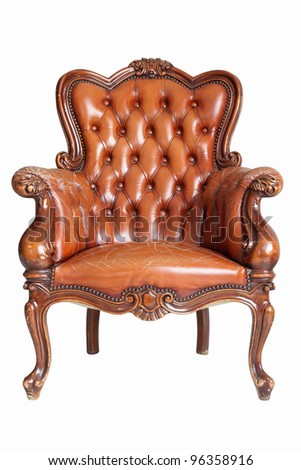 isolated Armchair brown genuine leather classical style sofa with clipping path - stock photo