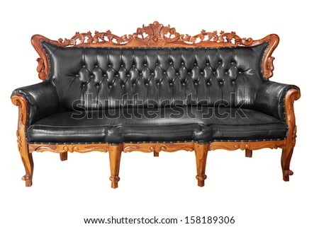 isolated Armchair  leather classical style sofa with clipping path