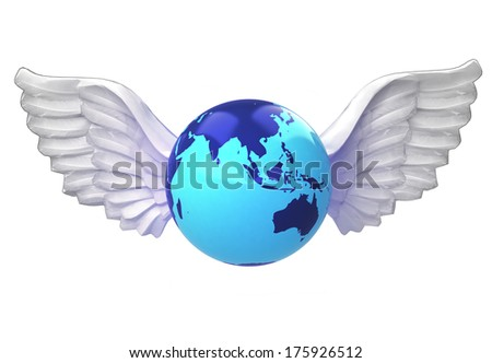 isolated Asia earth globe with angelic wings transport on white illustration - stock photo