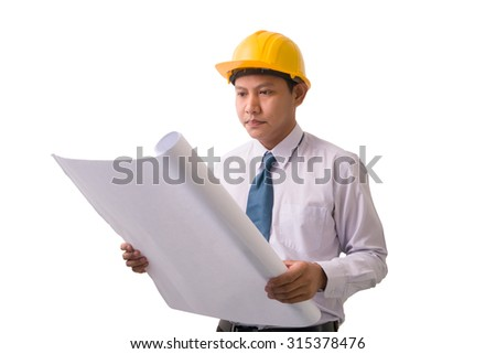 Isolated asian engineer with blueprints on white - stock photo
