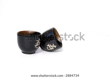Isolated Asian Sake Cups