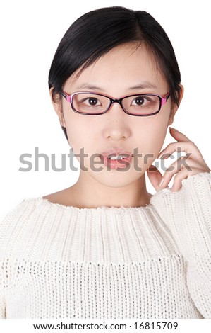 isolated asian woman wearing glasses. - stock photo