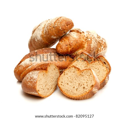 Isolated assorted breads - stock photo