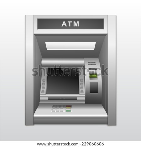 Isolated ATM Bank Cash Machine - stock photo
