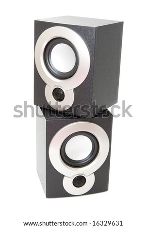 Isolated audio speakers - stock photo