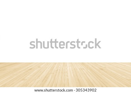 Isolated bamboo wood floor texture in natural yellow cream brown color tone on white wall background: Wooden table/ tabletop in creme beige brown toned colour on white backdrop  - stock photo
