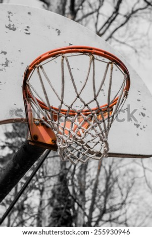 Isolated basketball hoop with net in vintage style - stock photo
