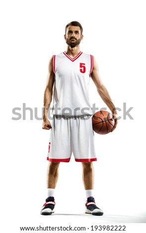 isolated Basketball player in action - stock photo