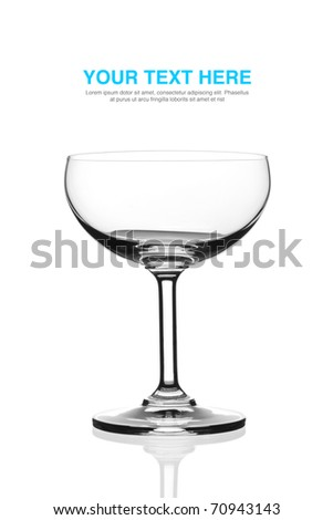 Isolated beautiful champagne saucer glass with white background. - stock photo