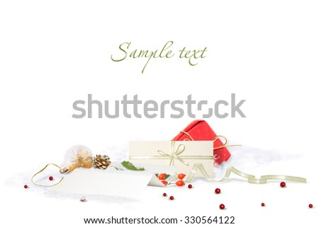 Isolated beautiful Christmas composition with letter to Santa - stock photo